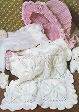 Baby Blanket Knitting Pattern Shawl Pram Cover DK Boys & Girls 52x75cm  601