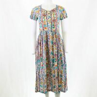 Vtg Java 80s 90s Aztec Button Smock Loose Midi Pocket Festival Sun Dress M 12 14