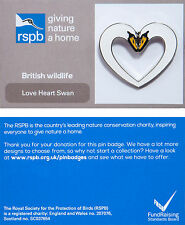 RSPB Pin Badge | Love Heart Swans | Celebratory - wedding/anniversary [00826]