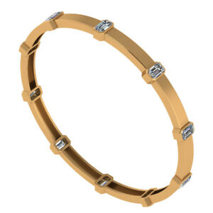 Solid White Emerald Yellow Gold Plated 925 Sterling Silver Bangle Bracelet Women