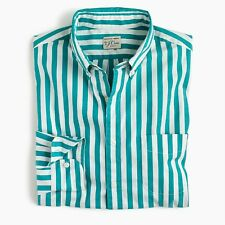 New J Crew Secret Wash Shirt Striped Button Up Long Sleeve Green White NWT