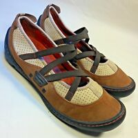 Women's Privo Clarks Mary Jane Elastic Strappy Comfort Brown Leather Shoes-7 M