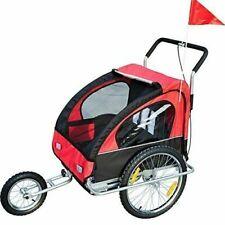 HomCom Remolque para Niños 2 Plazas con Amortiguadores Carro para Bicicleta - Negro y Rojo