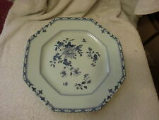 HEXAGON SHAPED LIMOGES FRANCE RAYNAUD & CO. BLUE PLATE FLORAL DESIGN