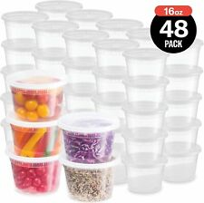 Plastic Deli Food Storage Containers With Leak-Proof Lids 48 Pack, 16 Oz |