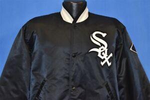 vintage 90s CHICAGO WHITE SOX BLACK SATIN STARTER DIAMOND SNAP UP JACKET LARGE L
