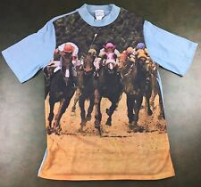 Vintage Mens M 80s Horse Racing Jockey All-Over Graphic Polyester T-Shirt