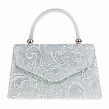 Silver Satin Lace Clutch Handbag with a Long Chain Wedding Prom Evening New
