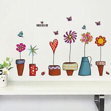 Cartoon Flower Butterfly Stickers DIY Decal Window Glass Wall Fine Decoration