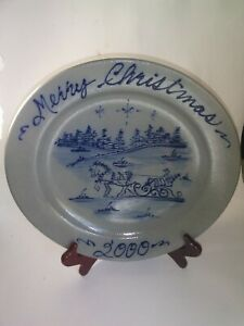 "2000 Rowe Pottery Works Stoneware 10 1/2"" Salt Glaze Christmas Plate"