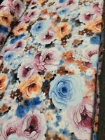 Spandex Lycra Stretch Blend Colorful Floral Print Big Flowers Pink Blue Orange