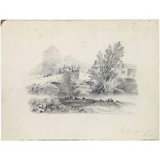 Beautiful Original Victorian Antique Packhorse Bridge Landscape Drawing 26 x 33