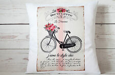 """Bicyclette - 16"""" cushion cover French shabby vintage chic - UK handmade"""