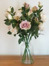 LARGE Silk Ivory Blush Pink Artificial Flowers Roses In Vase 60cm Home Decor NEW