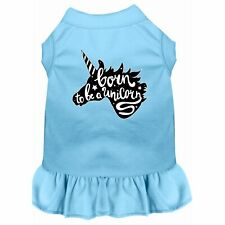 Born to be a Unicorn Screen Print Dog Dress Baby Blue