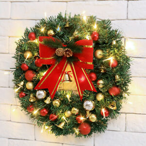 LED Light Pre-Lit Christmas Wreath Large Front Door Wreath Garland Decorations