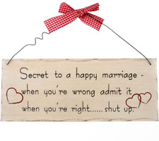 Funny Wooden Shabby Chic Wall Plaque Sign Secret to a Happy Marriage 10 X 25 Cm