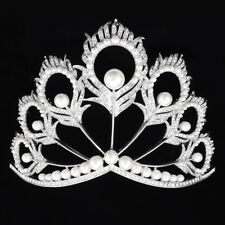 Miss Universe Tiara Crown Adjustable Pearl Wedding Bridal Tiaras Beauty Pageant