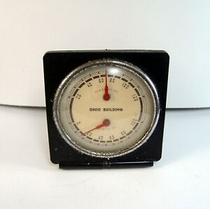 OLD AKRON OHIO BUILDING THERMOMETER, BAROMETER GLASS DIAL