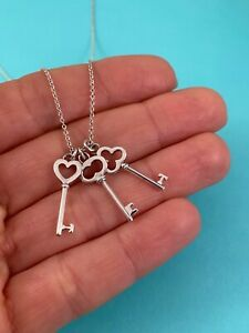 """Tiffany & Co Sterling Silver Three 3 Key Pendant Necklace 16"""". Rare & Retired"""