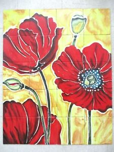 Hand painted Ceramic tile art wall mural panel painting Red Fower BACKSPLAH