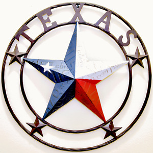 Metal Texas license plate circle with star Hanging Decoration