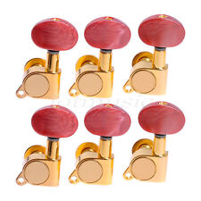 6L Acoustic Guitar String Tuning Pegs Tuners Keys Machine Heads Amber Red Button