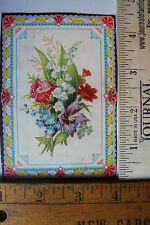 ADV. TRADE CARD THERMALINE W/ FLORAL DESIGN & COLORFUL BORDER 1031