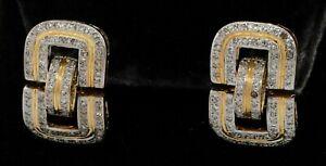 14K 2-tone gold elegant 1.52CT diamond cluster buckle dangle earrings