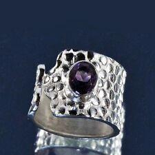 Ovale Echtschmuck-Ringe aus Sterlingsilber mit Amethyst-Hauptstein für Damen
