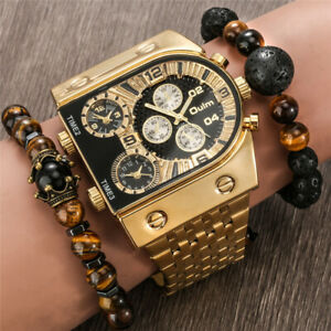 New Oulm Fashion Wrist Watch Men Multiple Time Zone Luxury Gold Stainless Steel