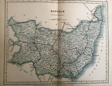 1875 Antique Map;  Cary / Cruchley map of Suffolk. Orig Outline Colour
