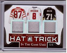SIDNEY CROSBY OVECHKIN EVGENI MALKIN Leaf In The Game Used Jersey Hat Trick #5/5