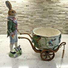 Fitz & Floyd Old World Male Rabbit 3 Pc Cachepot Centerpiece Rare