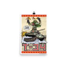 Soviet T-34 Tank Poster - Rat Fink Hot Rod Style - Dave Gink Original Design