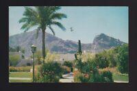 Camelback Inn near Phoenix Arizona shows flowery grounds 3c stamp 1957 Postcard