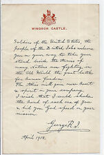 1918 GB WWI Copied Letter from Windsor Castle Stationary KGV - to US Soldiers*