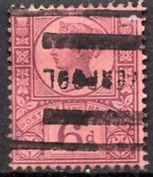 1887 Sg 208 K37(1) 6d Purple on Rose Red scarce Liverpool Roller Cancellation
