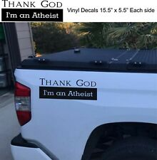 Thank God I'm Atheist Set of 2 Decals Removable Car Truck Vinyl Sticker graphics