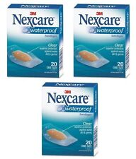 3 Pack - 3M Nexcare Waterproof Clear Bandages One Size 20 Each