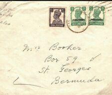 More details for pakistan cover india overprint bermuda st georges unusual destination 1948 fc55