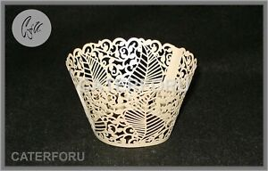 24 CUPCAKE WRAPPERS LEAVES LASER CUT CASES CAKE WEDDING BIRTHDAY PARTY SHOWER