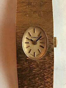 Vintage Tissot Ladies Gold Plated Manual Wind Watch On Bracelet