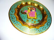 Wall Plate Hanging Brass Elephant Handpainted Art Home Decor For Christmas Gift