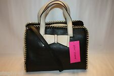 NWT! NEW! BETSEY JOHNSON Black Cream TOUGH LOVE Lg Bow Satchel Shoulder Bag $118