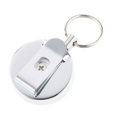 Metal Retractable Chain Steel Recoil Key Ring Belt w/ Clip ID Holder Silver