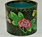 Vintage Cloisonné Tooth Pick Holder Black with  Floral Colors