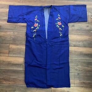 Vintage Silver Lake Authentic Chinese 100% Pure Silk Kimono Robe One Size