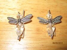 Pair Clear Sterling Silver Filled Angels Ear Vines, Sweeps, Pins Earrings