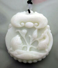 Fishes Lotus Pendant Jewelry White Jade Gem Happy Lucky